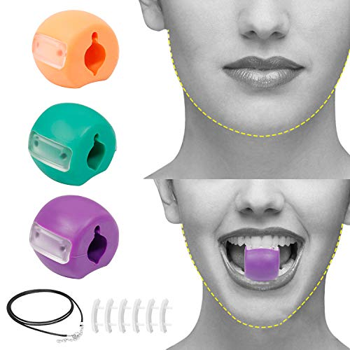 Jaw Exerciser - Jawline Exerciser, Jaw Exerciser for Men and Women, Neck, and Face Exerciser, Face Slimmer, Face Shaper, Double Chin Reducer(3-PACK, 3 Resistance Levels)
