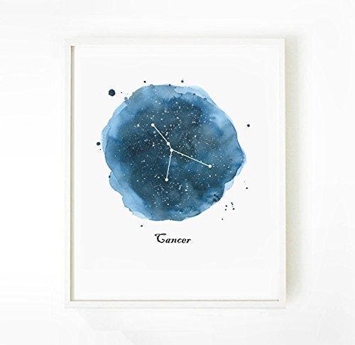 Unframed Cancer Print Zodiac Constellation Astrology Gift Poster Star Sign