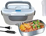 Nifogo Electric Heating Bento Lunch Box, Portable Food Warmer Heating,Car and Home Use Portable Lunch Heater with Removable Stainless Steel Container Food Grade Material 110V and 12V 24 V (gray)