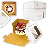 12 Pack Tall Cake Boxes with Window for Tier...