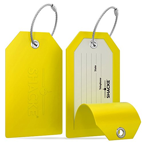 Shacke Luggage Tags with Full Back Privacy Cover w/Steel Loops - Set of 2 (Yellow)