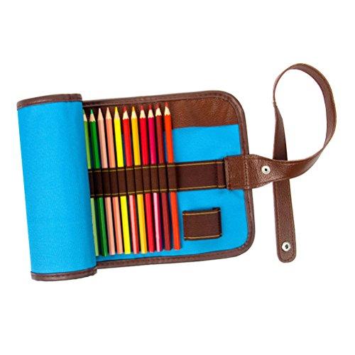 TOYMYTOY Sacchetto portamatite arrotolabile in tela e pelle con bottone pressione regolabile 36 posti in Blu