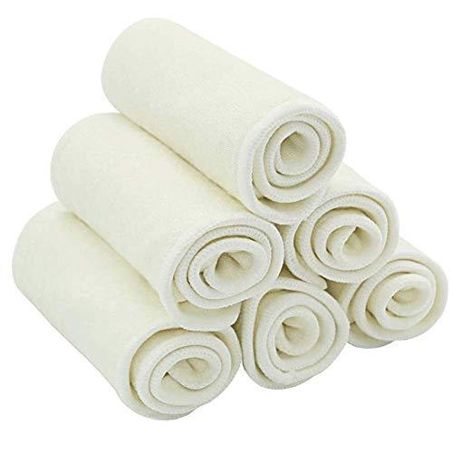 HahaGo 10PCS Baby Stoff Windel Liner Waschbar Wiederverwendbar 3 Lagen Windelunterlage Einlegen Taschenwindeln für Kleinkinder und Erwachsene (Weiß, 35 * 13,5 cm / 13,8 * 5,3 Zoll)