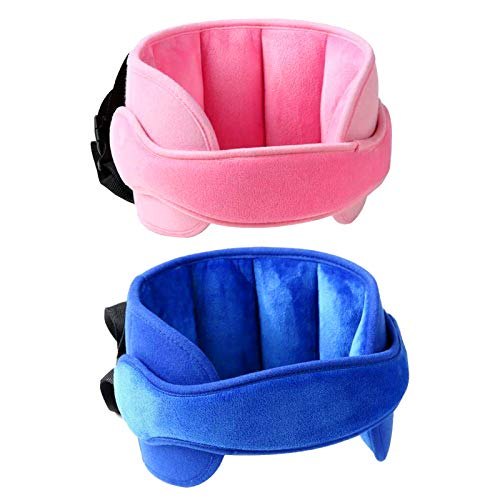 Blue and Pink Child Safety Car Seat Head Support Set, Toddler Car Seat Neck Pillow Sleep Strap with Adjustable Belt
