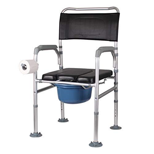 LYP Andador Rollator Silla Plegable Toilet Bowl Inodoro portátil aleación de Aluminio Capacidad de Carga máxima de Movilidad Reducida Anciano de 210 Libras (Color : Silver)