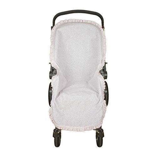 Funda verano de silla de Paseo con forro para la parte trasera de la hamaca Rosy Fuentes - Equipado para una marca exclusiva - Elaborado en Popelín estampado - Color rosa