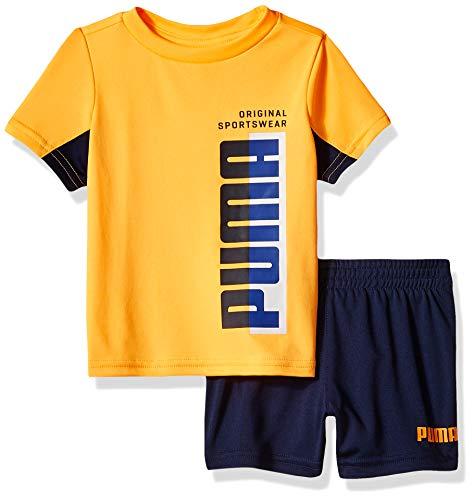PUMA Baby Boys' T-Shirt & Short Set, Light Heather Grey, 12 Months