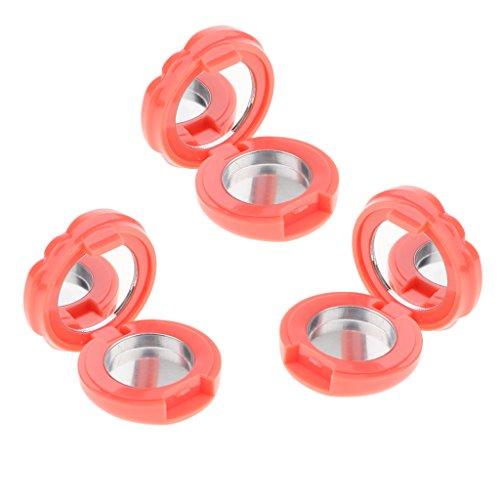 Sharplace 3 Pièces Conteneur de Boîte Rond Motif Rose Réutilisable Mini Portable Boîte Vide pour Baume à Lèvre, Ombre à Paupière - Couleur de pamplemousse