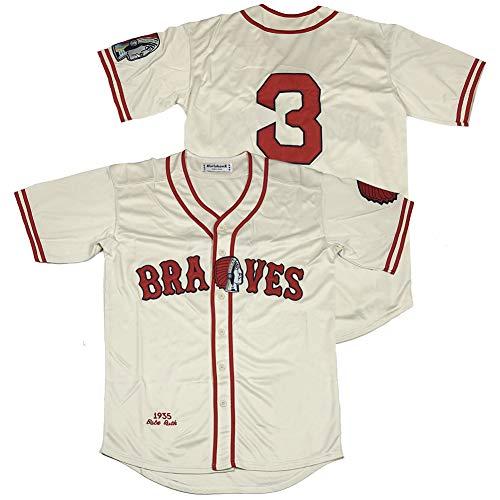 projersey Men's #3 Babe Ruth Boston Braves 1935 Baseball Jersey Stitched Size XL Cream