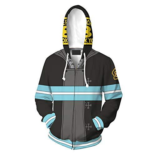 XUEMEI Men's Hoodie, Fire Force COS 3D Printing, Couples Hoody, Long Sleeve Sweatshirt, Casual Cardigan Sportswear, Sports jacket A-XXL