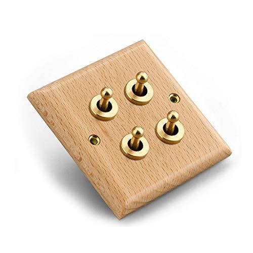 FSJKZX Interruptor De Luz Interruptor De Palanca De Latón Marrón Vintage De Madera Montado En La Pared Interruptor De 4 Vías Control Dual Único Abierto Universal (Color : Brown, Size : 4)