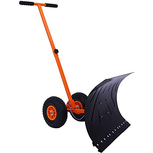 For Sale! LANGYINH Snow Shovel for Driveway,Adjustable Heavy Duty Snow Plow with Wheels and Large Bl...