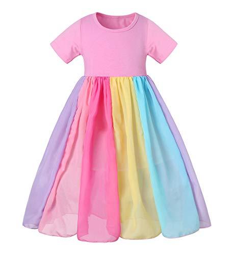 Cotrio Vestido de verão para bebê menina princesa arco-íris tule vestido de verão roupas de brinquedo 7-8 anos rosa