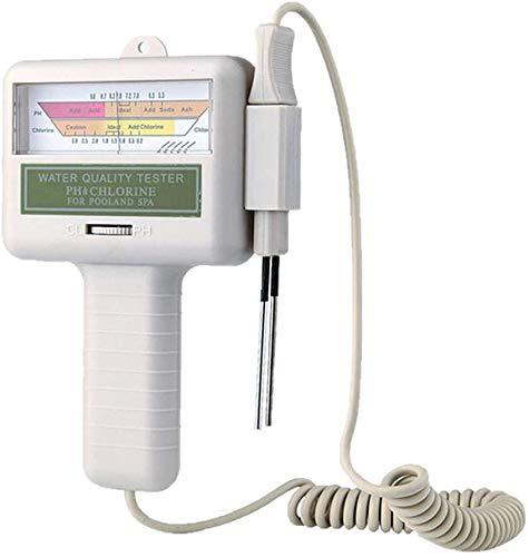 Antrect Probador de pH Portátil,Medidor de Cloro, Monitor de Medición de Calidad del Agua para Piscina,Termas (Blanco)