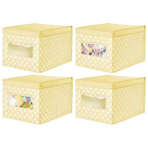 mDesign Juego de 4 Cajas de Tela de Lunares – Caja de almacenaje con Tapa abatible para habitación Infantil – Organizador Infantil apilable de Fibra sintética Transpirable – Amarillo Claro/Blanco