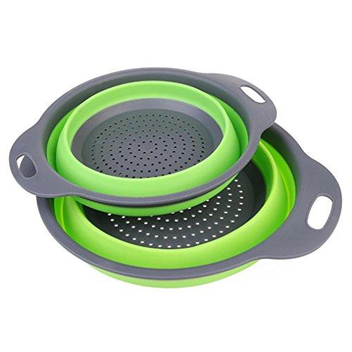 HCFKJ Faltbare Silikon Colander Obst Gemüse Waschkorb Sieb Faltbare Abtropffläche Mit Griff Küche Werkzeug (29 * 23 * 5CM, GRUN)