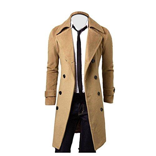 Kolylong® Mantel Herren Herren Vintage Lang Wollmantel Slim Fit Trenchcoat Männer Wolljacke Windbreaker Business Parka Outwear Überzieher Strickjacke Cardigan (XL, Khaki)