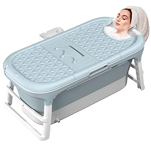 MCGMITT Faltbare Badewanne Erwachsene, Mobile Badewanne Erwachsene XL 128 x 62 x 52cm, Tragbare Badewanne Klappbadewanne mit Abnehmbar Abdeckung für Kleines Badezimmer Dusche (Blau)