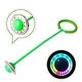 Sports Swing Ball Ankle Skip Ball Flashing Jumping Ring Jump Ropes Sports Dancing Ball Toy Ball Games Foot Ball Sport Exercise Fitness Equipment Gift for Children Kids Adult (Green)