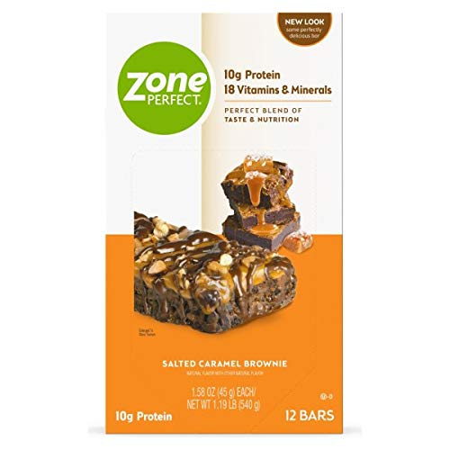 Zone PERFECT Protein Bars, Salted Caramel Brownie, 10g of Protein, Nutrition Bars With Vitamins &...