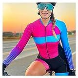 LYYJIAJU Ciclismo Skinsuit Suit Triathlon si adatta alle donne manica lunga ciclismo tuta da ciclismo abiti da bicicletta da strada (Color : Multi-colored, Size : 4XL)