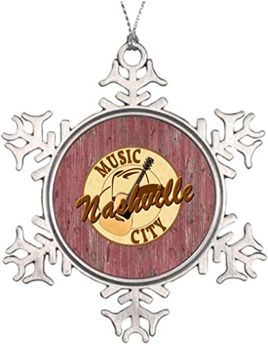 PotteLove Personalized Christmas Tree Decoration Nashville Music City 3 Inch House Snowflake Ornaments Music City