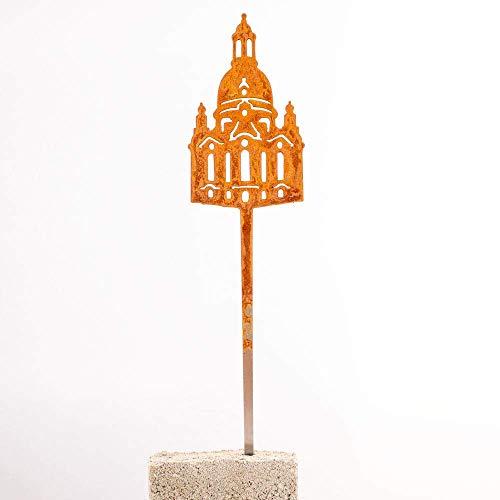 Galionsfigur Dresden Frauenkirche | Designer Blumenstecker Edelrost - 30cm hoch, Dresden Souvenir, Sachsen, Gastgeschenk, Mitbringsel, Balkon- und Gartendekoration, Made in Germany