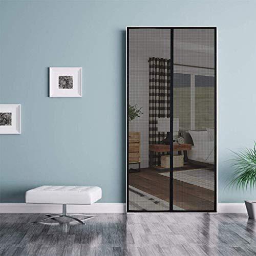 Classic Mosquito Net Magnetic Screen Fiberglass Mesh Curtain Patio Door Mesh with Full Frame Hook&Loop (210X90 cm, Black)