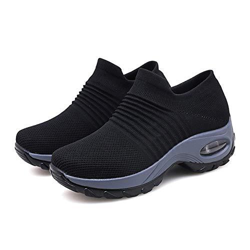 Zapatillas Plataforma Cuña Deportivo Mujer, Ligeras Gruesas Tacón Alto, Zapatillas Deporte Transpirables Cuña Mujer Zapatos Casual Sneakers Cómodos Air Cordones Zapatos,H,40