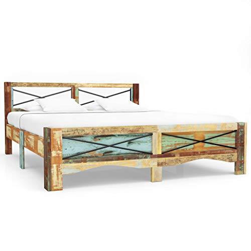 Festnight Bettrahmen | Vintage Bettgestell | Massivholzbett | Holz Doppelbett | Antik Holzbetten | Recyceltes Massivholz 160 x 200 cm