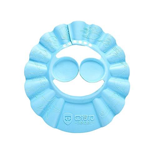 Toyvian Einstellbare Baby Duschhaube Baby Gehörschutz Bad Kappen Shampoo Kopf Schild für Neugeborene Kleinkinder Kinder (blau)