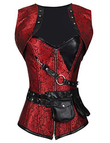 FeelinGirl Damen Korsett mit Stahlstäbchen - Brokatmuster - Retro/Gothic/Steampunk-Stahl ohne Knochen, Rot mit 24 Stäbchen, L(EU 38)