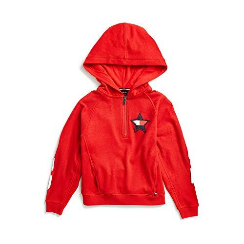 Tommy Hilfiger Mädchen Half Zip with Extended Zipper Collar Sweatshirt, Racing Red, Small