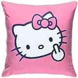 By Hello Kitty - Funda de cojín cuadrada de terciopelo suave con cremallera oculta para sofá, sala de estar, decoración del hogar (45,7 x 45,7 cm)