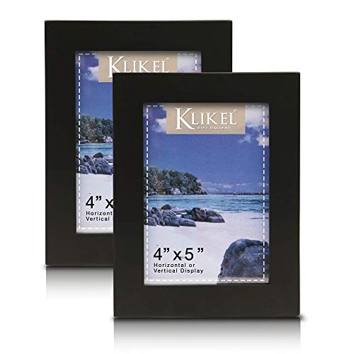Klikel Black Picture Frame - Set of 2 4 X 5 Black Wooden Photo Frame - Made of Real Wood With Glass Photo Protection - Wall Hanging And Table Standing Display