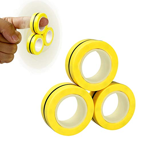 Anditoy Magnet Rings Finger Fidget Toys Magical Ring for Autism ADHD Man Woman Teens Kids Boys Girls Anxiety Stress Relief Stocking Stuffers (Yellow)