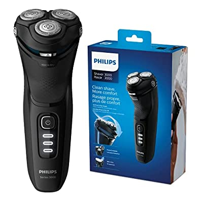 Philips New Series 3000 Wet or Dry Men's Electric Shaver with A 5D Pivot & Powercut Blades, Shiny Black -S3233/52 by Philips