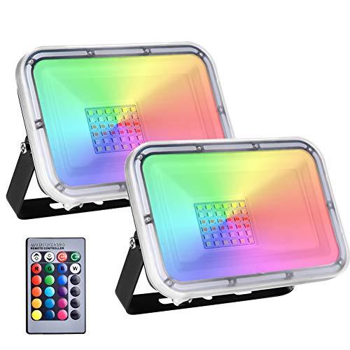 2 Pack 30W Foco Led RGB Con Función de Memoria, Impermeable IP67 Proyector LED Exteriores con Control Remoto, 16 Colores y 4 Modos Foco Exteriores RGB para Jardín,Terraza, Partido,Navidad