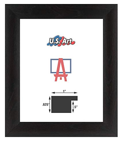 US Art Frames 12x36-Inch Wall Decor Picture Poster Frame, Smooth Wrapped Finish, 1 Inch Wide Flat, Black, Wood Composite MDF