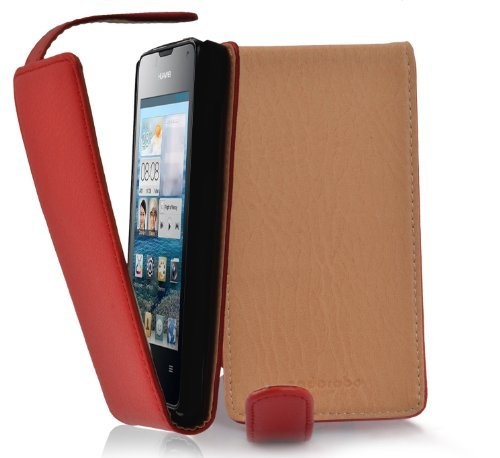 Cadorabo Hülle für Huawei Ascend Y300 - Hülle in Inferno ROT – Handyhülle aus Strukturiertem Kunstleder im Flip Design - Case Cover Schutzhülle Etui Tasche