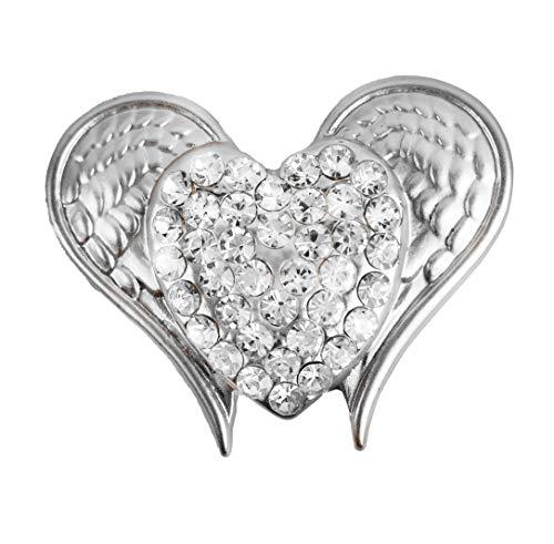 Treend24 Damen Magnet Brosche Flügel herz Silber Schal Clip Bekleidung Magnetbrosche Poncho Taschen Stifel Textilschmuck Eule Herz stern
