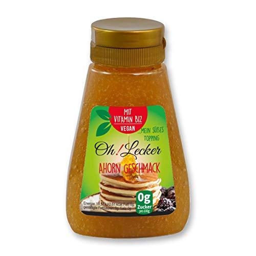 Oh! Lecker low-carb zuckerfrei kalorienfrei Stevia Sirup Ahorn, 195 g Flasche |Zuckerersatz | Vegan| Honigersatz| Tafelsüße| Fettfrei| Salzfrei