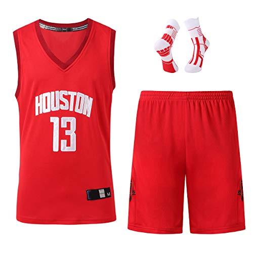 Jersey Basketball Men, Harden13 Basketball Vest, Rockets 2020-2021 New Season Basketball Clothing, Swingman Basketball Suit, As a Gift red-XXXXL