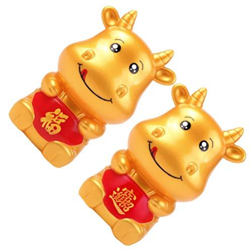 VALICLUD 2 Piezas Hucha de Vaca Año del Zodíaco Chino Banco de Dinero de Buey Figurillas de Vaca Banco de Monedas de Ganado Mesa Decoración Regalo para El Hogar
