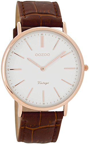 Oozoo unisex-Orologio da polso al quarzo in pelle C7335