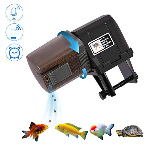 Maoyea Automatic Fish Feeder for Aquariums/Reptile Tank/Pond, Programmable for up to Four Feedings a Day, Use for Turtles, Saltwater/Tropical Fish, Freshwater Fish Like Gold Fish