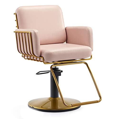 como Silla de peluquería Simple y Moderna, sillón de peluquería Giratorio, Soporte Hueco, Base Redonda, Rosa pálido