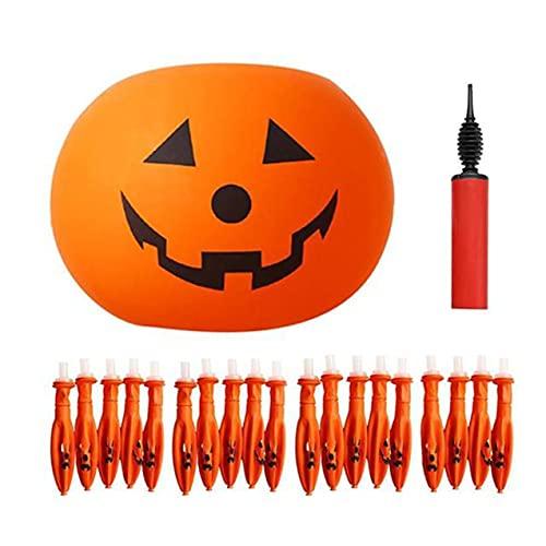 Kuyoly 20 globos + 1 inflador decoración de jardín Halloween LED globos de luz naranja calabaza linterna suministros vacaciones para patio césped