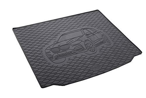 Passgenau Kofferraumwanne geeignet für BMW X3 G01 ab 2018 ideal angepasst schwarz Kofferraummatte + Gurtschoner