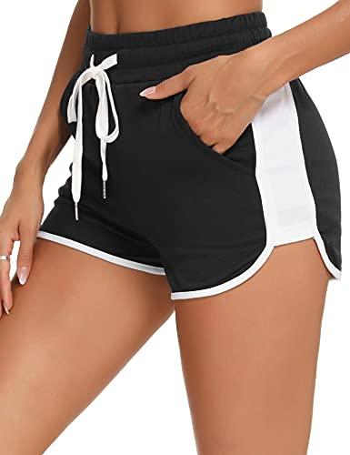 Pantalones Cortos Algodón Deportivos para Mujer Entrenamiento Yoga Verano para Hacer Ejercicio Trotar Gimnasio Pijamas Interior Casual Suelto Elástico con Banda Negro M